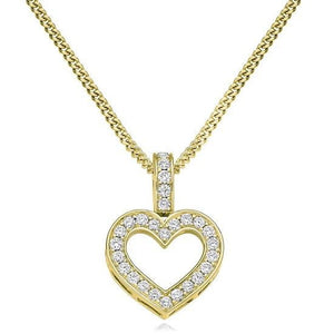 18K Yellow Gold & Diamond Grain Set Heart Pendant Pobjoy Diamonds