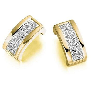 18K Yellow Gold Princess Cut 0.55 CTW Diamond Rectangle Earrings From Pobjoy in Surrey.