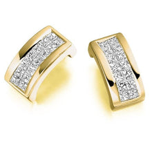 Load image into Gallery viewer, 18K Gold Princess Cut 0.55 CTW Diamond Hug Earrings.-Pobjoy Diamonds.