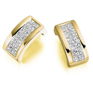 18K Gold Princess Cut 0.55 CTW Diamond Hug Earrings.-Pobjoy Diamonds.