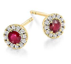 Ruby & Round Brilliant Cut Diamond Ladies Stud Earrings 0.98 CTW