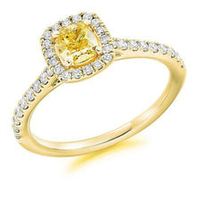 Load image into Gallery viewer, 18K Gold Yellow Cushion Diamond & Halo Engagement Ring 0.85 CTW - Pobjoy Diamonds