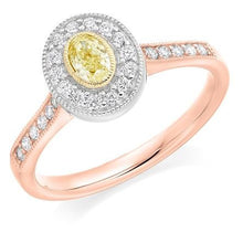 Load image into Gallery viewer, 18K Gold Yellow Diamond & Halo Engagement Ring 0.80 CTW - Pobjoy Diamonds