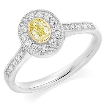 18K Gold Yellow Diamond & Halo Engagement Ring 0.80 CTW - Pobjoy Diamonds