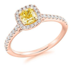 18K Gold Yellow Cushion Diamond & Halo Engagement Ring 0.85 CTW - Pobjoy Diamonds