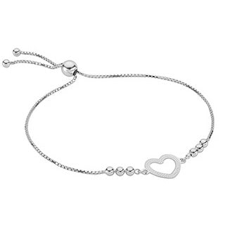 925 Sterling Silver Adjustable Heart Charm Bracelet Pobjoy Diamonds
