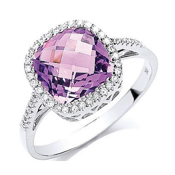 9K White Gold Amethyst & Diamond Ring From Pobjoy DIamonds