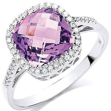 Load image into Gallery viewer, 9K White Gold Amethyst & Diamond Ring - Pobjoy Diamonds