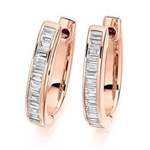 Load image into Gallery viewer, Baguette Cut Diamond Ladies Hoop Earrings 18K Gold - Pobjoy Diamonds
