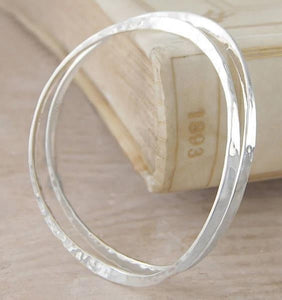 Handmade Sterling Silver Hammered Ladies Bangle - Pobjoy Diamonds