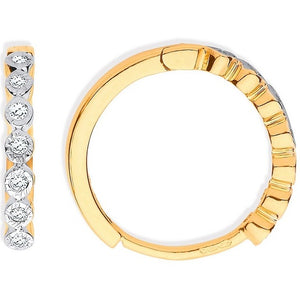 9K Yellow Gold Small Diamond Hoop Earrings 0.10 CTW
