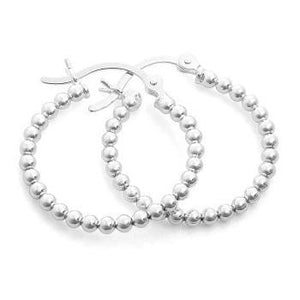 Sterling Silver Bead Hoop Earrings - Pobjoy Diamonds