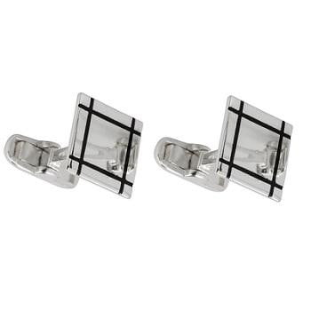Sterling Silver Square and Black Line Gents Cufflinks