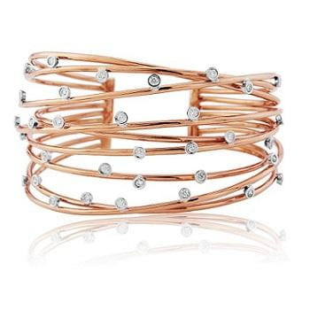 18K Rose Gold & Scattered Diamond Ladies Bracelet 0.80 CTW - Pobjoy Diamonds