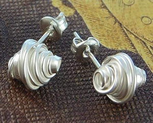 Handmade Silver Coil Stud Earrings - Pobjoy Diamonds