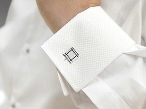 Sterling Silver & Black Square Cufflinks - Pobjoy Diamonds