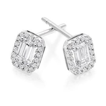 18K white gold emerald and round brilliant cut diamond stud earrings from Pobjoy