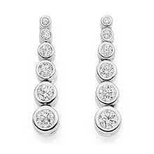 Load image into Gallery viewer, 950 Palladium Six Point 1.00 CTW Diamond Drop Earrings G-H/Si-Pobjoy Diamonds