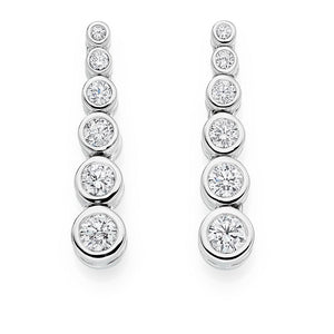 950 Palladium Six Point 1.00 CTW Diamond Drop Earrings G-H/Si-Pobjoy Diamonds