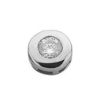 9K White Gold Gents Rubover Set Diamond Stud Earring 0.15 Carat - Pobjoy Diamonds
