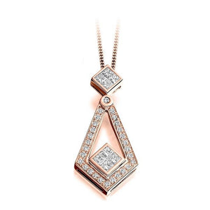 Round & Princess Cut 0.52 CTW Diamond Drop Pendant G-H/Si