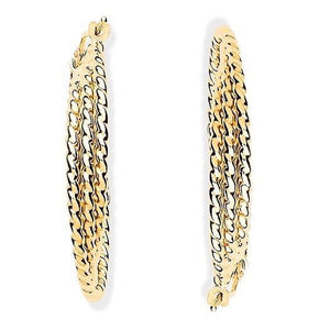 9K Yellow Gold Layered Hoop Earrings Pobjoy Diamonds Surrey