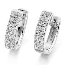 Load image into Gallery viewer, 18K Gold Round Brilliant Cut Twin Row Diamond Earrings 0.66 CTW - G-H/Si