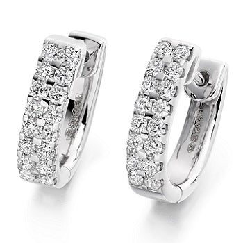 18K Gold Round Brilliant Cut Twin Row Diamond Earrings 0.66 CTW - G-H/Si