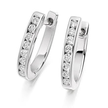 Load image into Gallery viewer, 18K Gold Round Brilliant Cut Channel 0.33 CTW Diamond Earrings - G-H/Si - Pobjoy Diamonds
