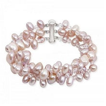 Load image into Gallery viewer, Three Strand Egg Pearl Pink White Ladies Bracelet From Pobjoy