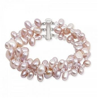 Three Strand Egg Pearl Pink White Ladies Bracelet From Pobjoy