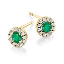 Load image into Gallery viewer, Emerald & Round Brilliant Cut Diamond Ladies Stud Earrings