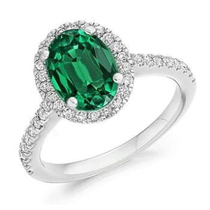 950 Platinum Oval Cut Emerald & Diamond Halo Ring 2.64 CTW F-G/VS - Pobjoy Diamonds
