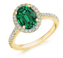 Load image into Gallery viewer, 18K Yellow Gold Oval Cut Emerald & Diamond Halo Ring 2.64 CTW F-G/VS