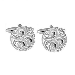 Sterling Silver Pattern Engraved Round Cufflinks - Pobjoy Diamonds
