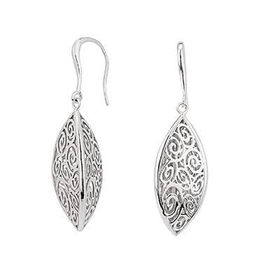 925 Sterling SIlver Filigree Dropper Earrings From Pobjoy
