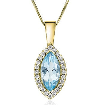9K Yellow Gold Aquamarine & Diamond Pendant