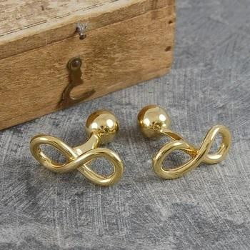 Handmade 18K Gold Plated On Sterling Silver Infinity Cufflinks