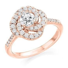 Load image into Gallery viewer, 18K Rose Gold Diamond Halo & Shoulders Cluster Engagement Ring 0.95 CTW - Pobjoy Diamonds