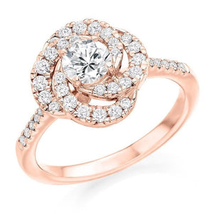 18K Rose Gold Diamond Halo & Shoulders Cluster Engagement Ring 0.95 CTW - Pobjoy Diamonds