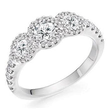 Load image into Gallery viewer, 950 Platinum 1.10 CTW Diamond Trilogy Ring D-E/VS