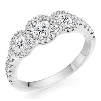 950 Platinum 1.10 CTW Diamond Trilogy Ring D-E/VS