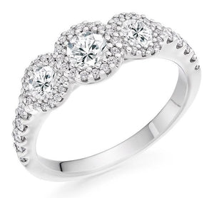 950 Platinum 1.10 CTW Diamond Trilogy Ring F-G/VS