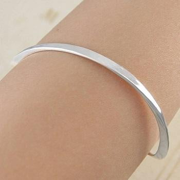 Handmade Sterling Silver Hammered Ladies Bangle Pobjoy