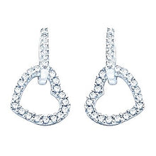 Load image into Gallery viewer, 9K White Gold Diamond Set Heart Drop Earrings 0.50 CTW