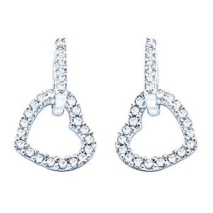 9K White Gold Diamond Set Heart Drop Earrings 0.50 CTW