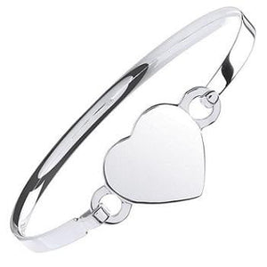 Pobjoy Sterling SIlver Ladies Heart Shaped Bangle