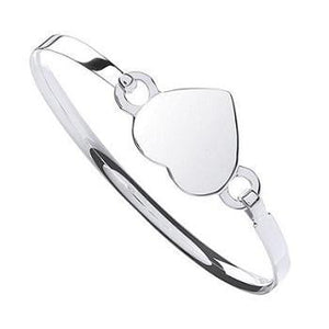 Sterling SIlver Ladies Heart Shaped Bangle From Pobjoy Diamonds