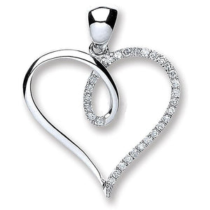 9K White Gold & Diamond Heart From Pobjoy DIamonds