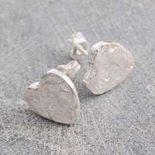 Load image into Gallery viewer, Handmade Silver Heart Textured Stud Earrings - Pobjoy Diamonds